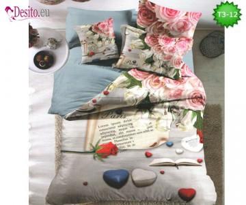 Спално бельо от 100% памук, 6 части - двулицево, с код T3-12