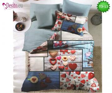 Спално бельо от 100% памук, 6 части - двулицево, с код T3-13
