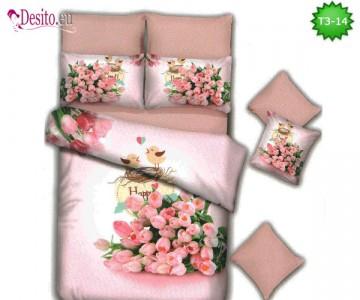 Спално бельо от 100% памук, 6 части - двулицево, с код T3-14