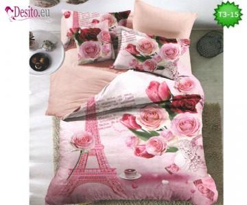 Спално бельо от 100% памук, 6 части - двулицево, с код T3-15