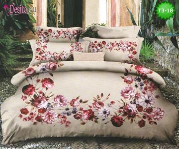 Спално бельо от 100% памук, 6 части - двулицево, с код T3-18