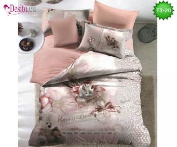 Спално бельо от 100% памук, 6 части - двулицево, с код T3-20