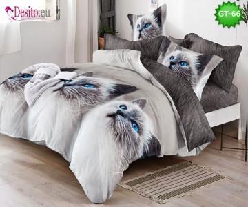 Спално бельо от 100% памук, 6 части и чаршаф с ластик с код GT-66