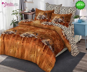 Спално бельо от 100% памук, 6 части и чаршаф с ластик с код GT-67