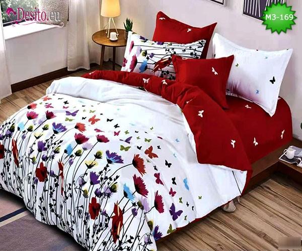 Спално бельо от 100% памук, 6 части, двулицево с код M3-169