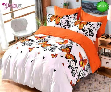 Спално бельо от 100% памук, 6 части, двулицево с код M3-171