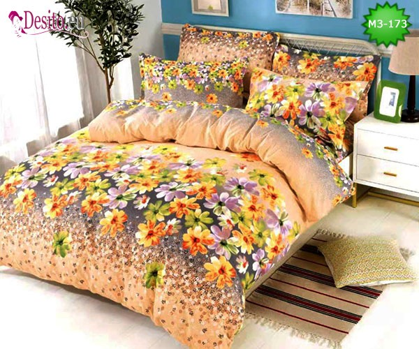 Спално бельо от 100% памук, 6 части, двулицево с код M3-173