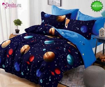 Спално бельо от 100% памук, 6 части, двулицево с код M3-178