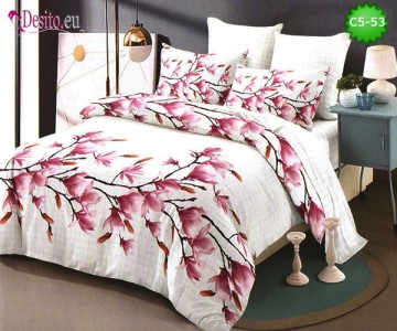 Спално бельо от 100% памук, 6 части и чаршаф с ластик с код C5-53