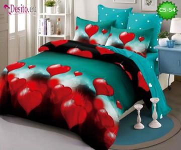Спално бельо от 100% памук, 6 части и чаршаф с ластик с код C5-54