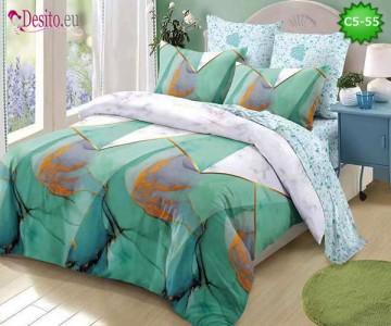 Спално бельо от 100% памук, 6 части и чаршаф с ластик с код C5-55