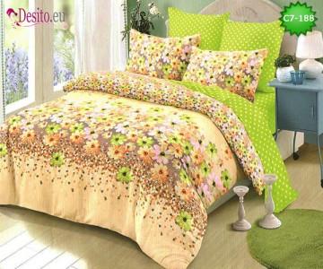 Спално бельо от 100% памук, 6 части - двулицево, с код C7-188