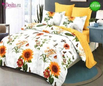 Спално бельо от 100% памук, 6 части - двулицево, с код C7-189