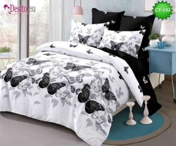 Спално бельо от 100% памук, 6 части - двулицево, с код C7-192