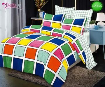 Спално бельо от 100% памук, 6 части - двулицево, с код C7-195