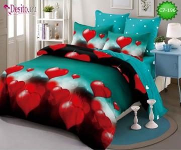 Спално бельо от 100% памук, 6 части - двулицево, с код C7-196