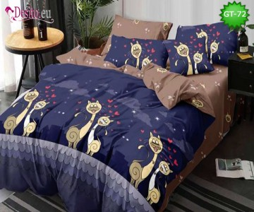 Спално бельо от 100% памук, 6 части и чаршаф с ластик с код GT-72