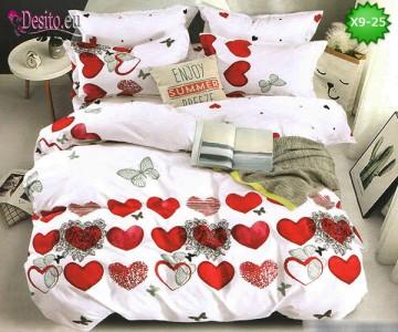 Спално бельо от 100% памук, 6 части - двулицево, с код X9-25