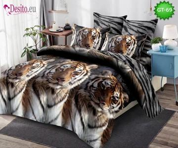 Спално бельо от 100% памук, 6 части и чаршаф с ластик с код GT-69
