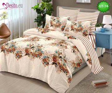 Спално бельо от 100% памук, 6 части и чаршаф с ластик с код GT-74