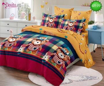 Спално бельо от 100% памук, 6 части и чаршаф с ластик с код GT-77