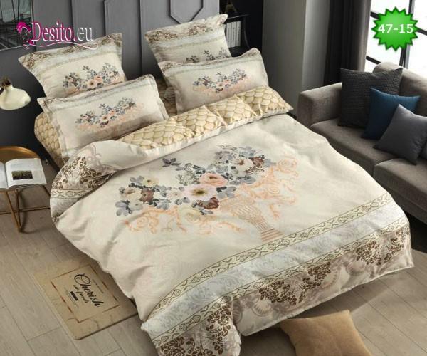 Спално бельо от 100% памук, 6 части, двулицево с код 47-15