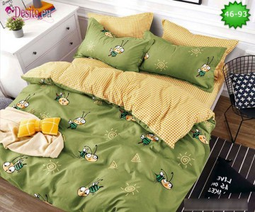 Спално бельо от 100% памук, 6 части - двулицево, с код 46-93