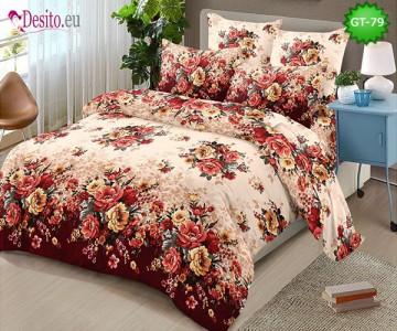Спално бельо от 100% памук, 6 части и чаршаф с ластик с код GT-79