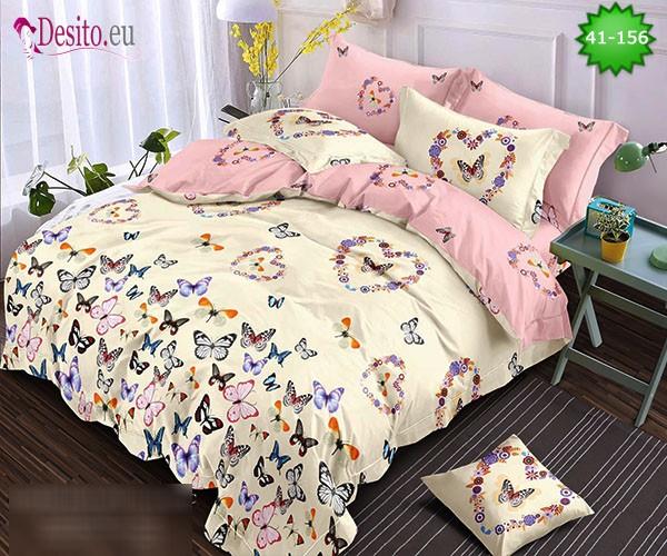 Спално бельо от 100% памук, 6 части - двулицево, с код 41-156