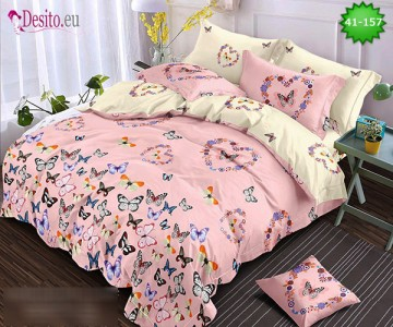 Спално бельо от 100% памук, 6 части - двулицево, с код 41-157