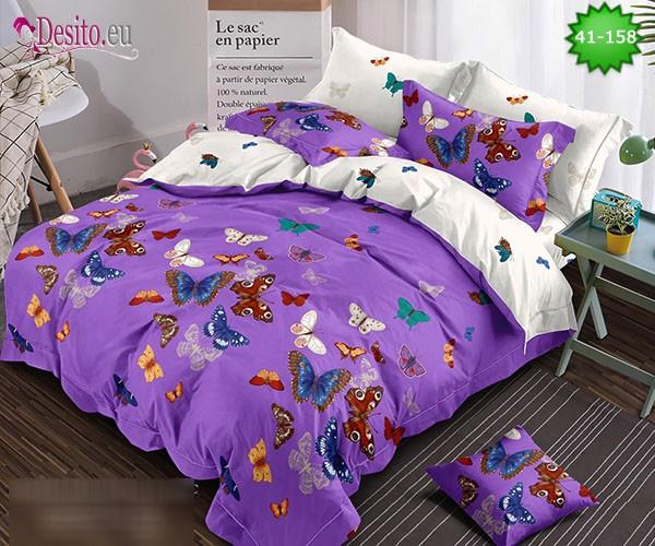 Спално бельо от 100% памук, 6 части - двулицево, с код 41-158