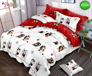Спално бельо от 100% памук, 6 части - двулицево, с код 41-160