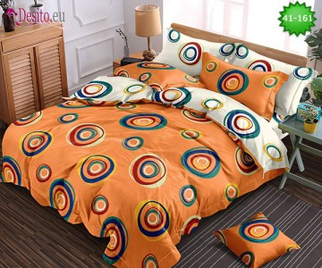 Спално бельо от 100% памук, 6 части - двулицево, с код 41-161