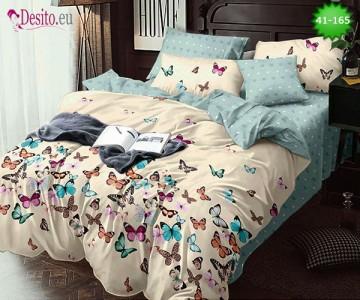 Спално бельо от 100% памук, 6 части - двулицево, с код 41-165