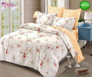 Спално бельо от 100% памук, 6 части и чаршаф с ластик с код C5-57