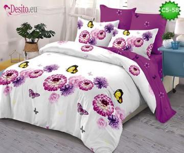 Спално бельо от 100% памук, 6 части и чаршаф с ластик с код C5-58