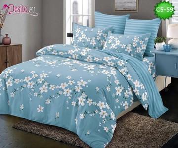 Спално бельо от 100% памук, 6 части и чаршаф с ластик с код C5-59