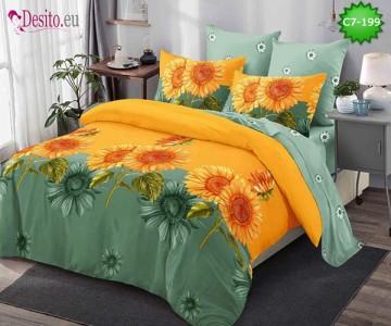 Спално бельо от 100% памук, 6 части - двулицево, с код C7-199