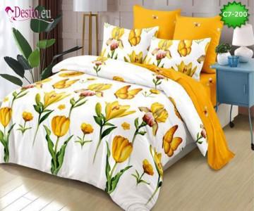 Спално бельо от 100% памук, 6 части - двулицево, с код C7-200