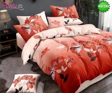 Спално бельо от 100% памук, 6 части, двулицево с код M3-188