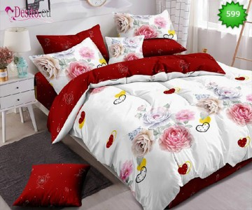 Спално бельо от 100% памук, 6 части, двулицево с код 599