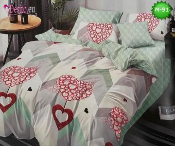 Спално бельо от 100% памук, 6 части - двулицево, с код M-91