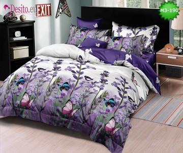 Спално бельо от 100% памук, 6 части, двулицево с код M3-190