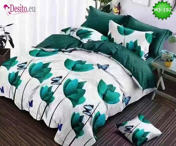 Спално бельо от 100% памук, 6 части, двулицево с код M3-192