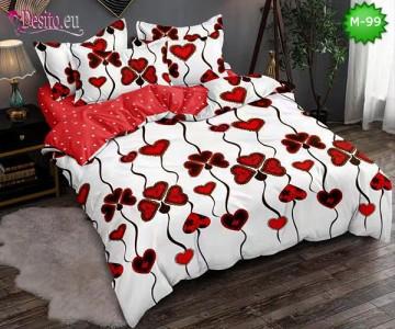Спално бельо от 100% памук, 6 части - двулицево, с код M-99