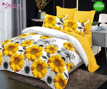 Спално бельо от 100% памук, 6 части - двулицево, с код C7-204