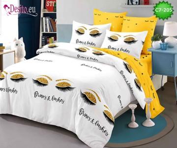 Спално бельо от 100% памук, 6 части - двулицево, с код C7-205