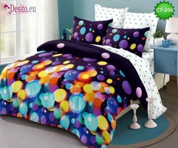 Спално бельо от 100% памук, 6 части - двулицево, с код C7-206