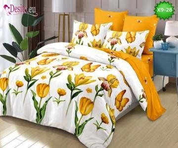Спално бельо от 100% памук, 6 части - двулицево, с код X9-28
