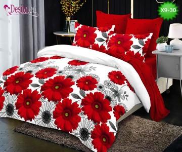 Спално бельо от 100% памук, 6 части - двулицево, с код X9-30